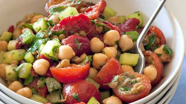 Weight watchers' lentil and chickpea chermoula salad