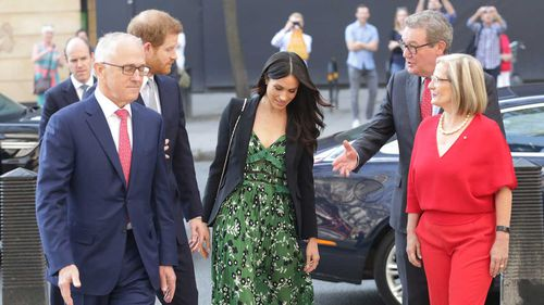 Alexander Downer (second from left), with Malcolm Turnbull, Prince Harry, Meghan Markle and Lucy Turnbull last month. (AAP)
