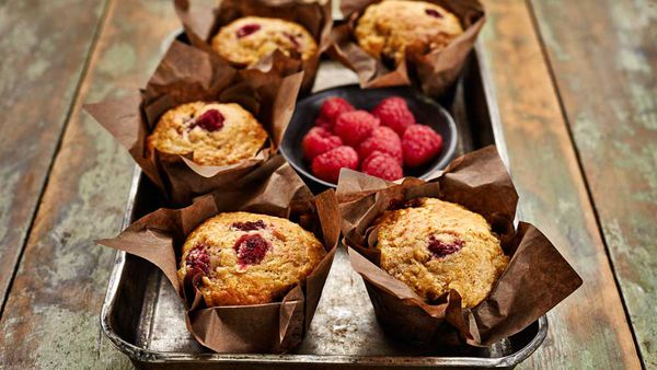 Banana and raspberry muffins