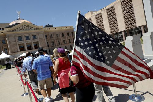 Patriotic Arizonans line up to pay their respects.