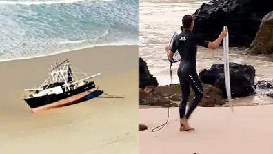 Dangerous Surf Beach Traveler snaps a surfboard on the Gold Coast