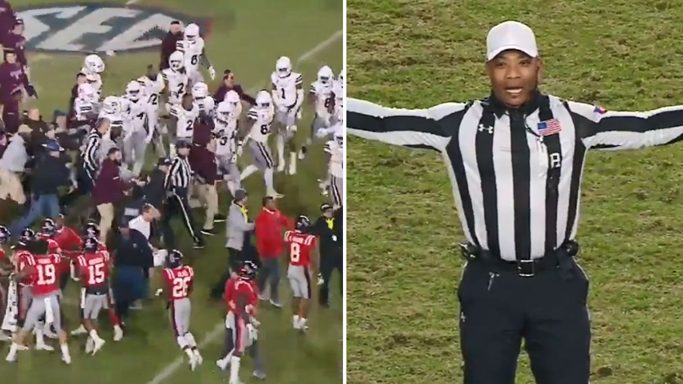 Referee flags every player on both Mississippi teams for unsportsmanlike conduct after all-in brawl