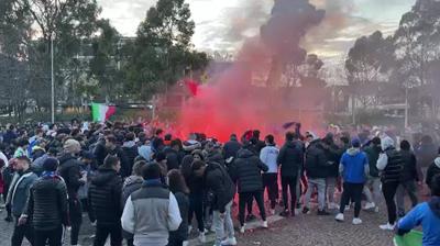 Italian fans celebrate semi-final win