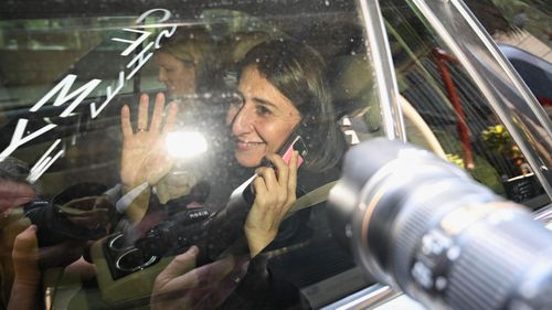 NSW Premier Gladys Berejiklian leaves the government offices at Martin Place this morning.