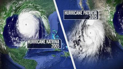 Hurricane Patricia is much larger than Hurricane Katrina. (9NEWS)