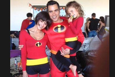Jessica Alba, husband Cash Warren and four-year-old daughter Honor Marie Alba Warren attended Gwen Stefani's Halloween party in Santa Monica wearing outfits from the movie <i>The Incredibles</i>.