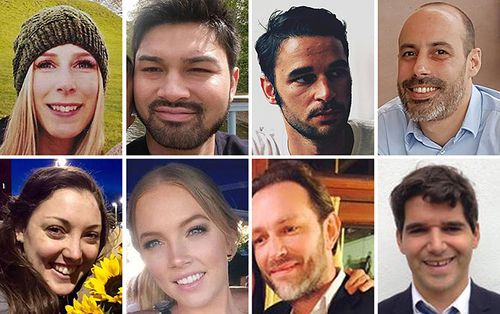 The victims of the London Bridge terrorist attack: (top row from left to right) Christine Archibald, James McMullan, Alexandre Pigeard, Sebastien Belanger, (bottom row left to right) Kirsty Boden, Sara Zelenak, Xavier Thomas and Ignacio Echeverria. (Supplied)