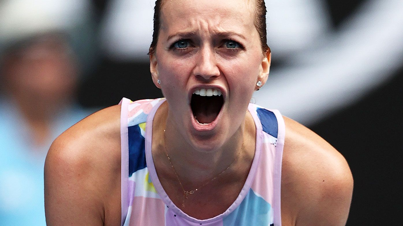 Petra Kvitova of Czech Republic celebrates after winning match point