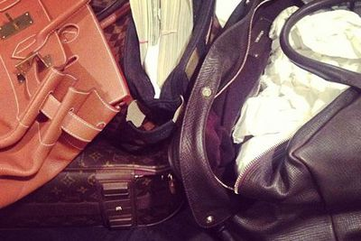 @letthelordbewithyou: Packing! #tomford #hermes #lv #stacksonice