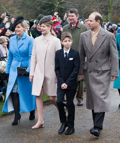 Lady Louise Windsor looks very grown up as she joins her grandmother the Queen for church.
