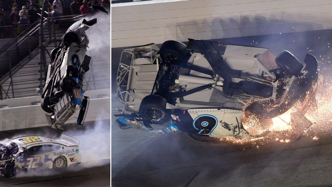 Horror crash at Daytona 500 hospitalises Ryan Newman as Denny Hamlin claims win