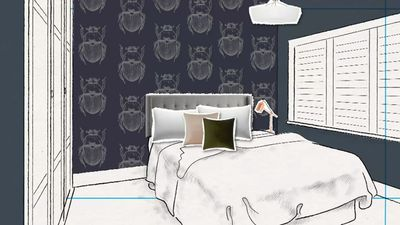 Sarah and Jason are going bold with beetle wallpaper, dark walls and designer bedhead