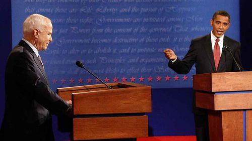 John McCain debates Barack Obama during the 2008 presidential election.