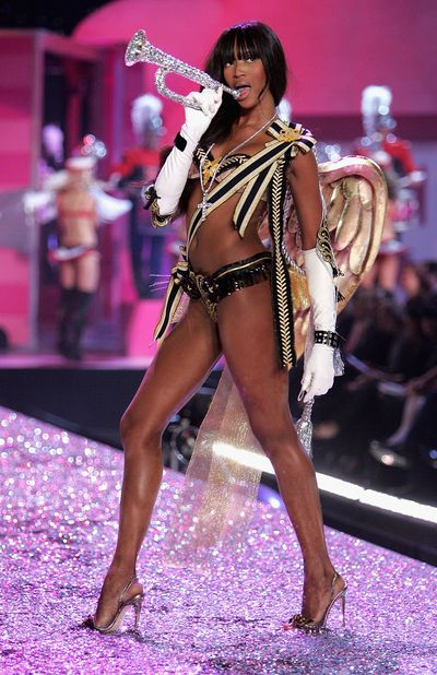 On the runway at the Victoria's Secret Fashion Show in December 2005