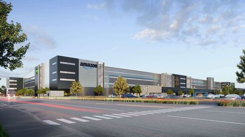 An impression of the Amazon Robotics fulfilment centre at Goodman's Oakdale West Industrial Estate in western Sydney.