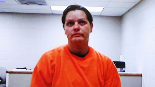 Brooke Crews appears in court via a video monitor from the Cass County (Anthony Souffle/Star Tribune via AP)