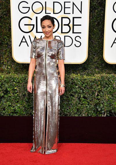 ActressRuth Negga in custom-made Louis Vuitton at the 2017 Golden Globes