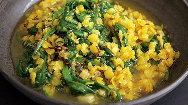 Anjum Anand's simple spinach and lentil curry