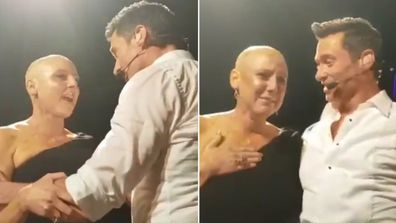 Hugh Jackman, breast cancer, fan, Perth, concert, hug on stage