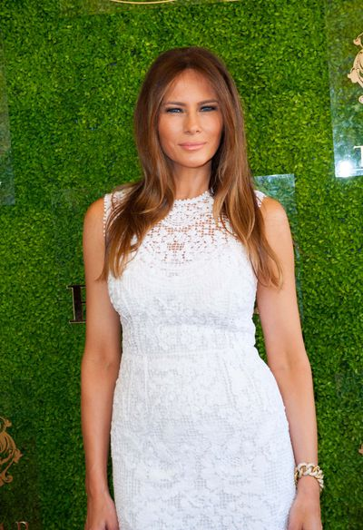 Melania Trump in virginal white, her signature shade, at the Trump Invitational Grand Prix at Mar-a-Lago,  January 4, 2015.