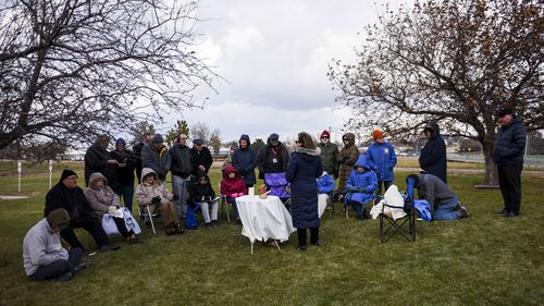 People gather to protest the execution of Charles Rhines on November 4, 2019 at the South Dakota State Penitentiary in Sioux Falls.