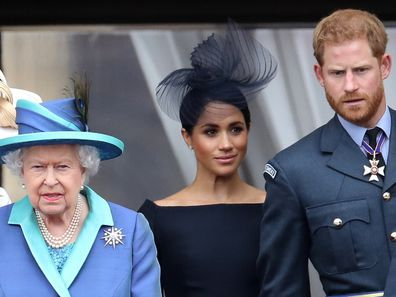 Harry, Meghan and Queen Elizbeth in 2018.