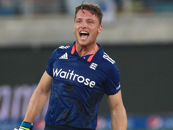 Jos Butler celebrates hitting the fastest one-day hundred by an Englishman. (Getty)