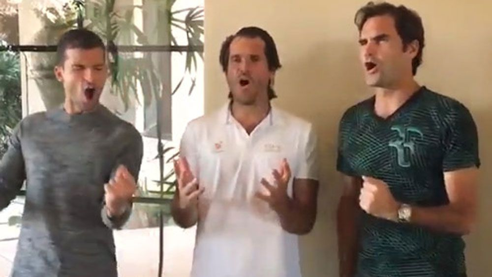 Swiss tennis ace Roger Federer unveils One Handed Backhand Boys band