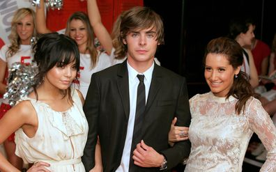 Vanessa Hudgens with her High School Musical co-stars; Zac Efron and Ashley Tisdale