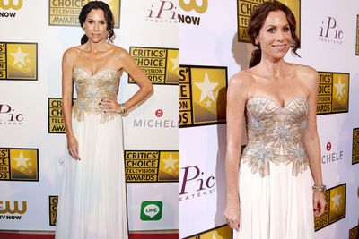 It's glam-tastic! Minnie Driver breaks out the sparkles in her couture frock.
