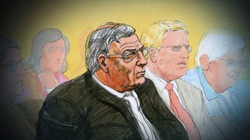A court sketch of Cardinal George Pell.