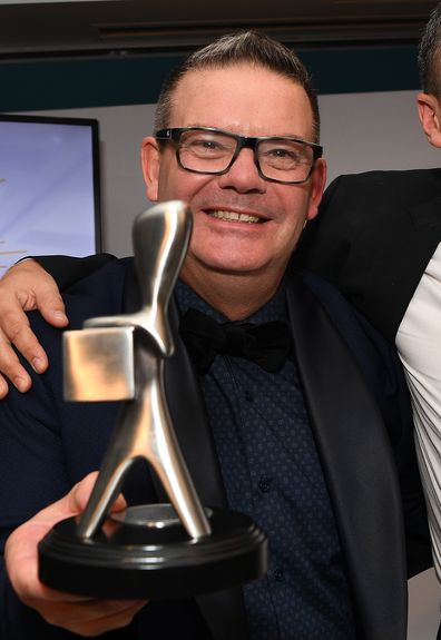 Gary Mehigan from MasterChef Australia poses with the Logie for the Most outstanding reality program.