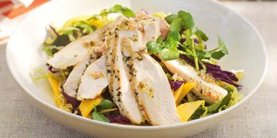 """Recipe:<a href=""""http://kitchen.nine.com.au/2016/05/19/12/47/barbecued-chicken-salad-with-mangoes"""" target=""""_top"""">Barbecued chicken salad with mangoes<br /> </a>"""