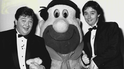 Jonathan Coleman and co-host Ian Rogerson in 1987.