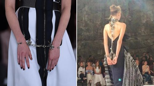 Other bondage-like elements included handcuffs on some of the models. (AAP/Supplied)