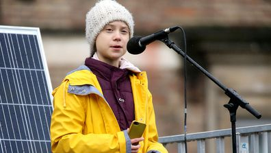 Greta Thunberg speaks at the Bristol Youth Strike 4 Climate protest at College Green in Bristol