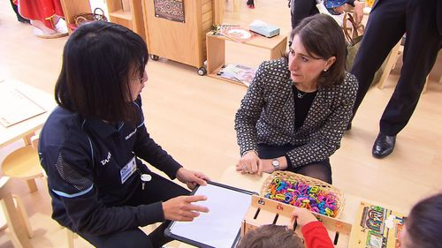 Premier Gladys Berejiklian visited the newly-revamped early childhood and care facility at TAFE St Leonards. (9NEWS)
