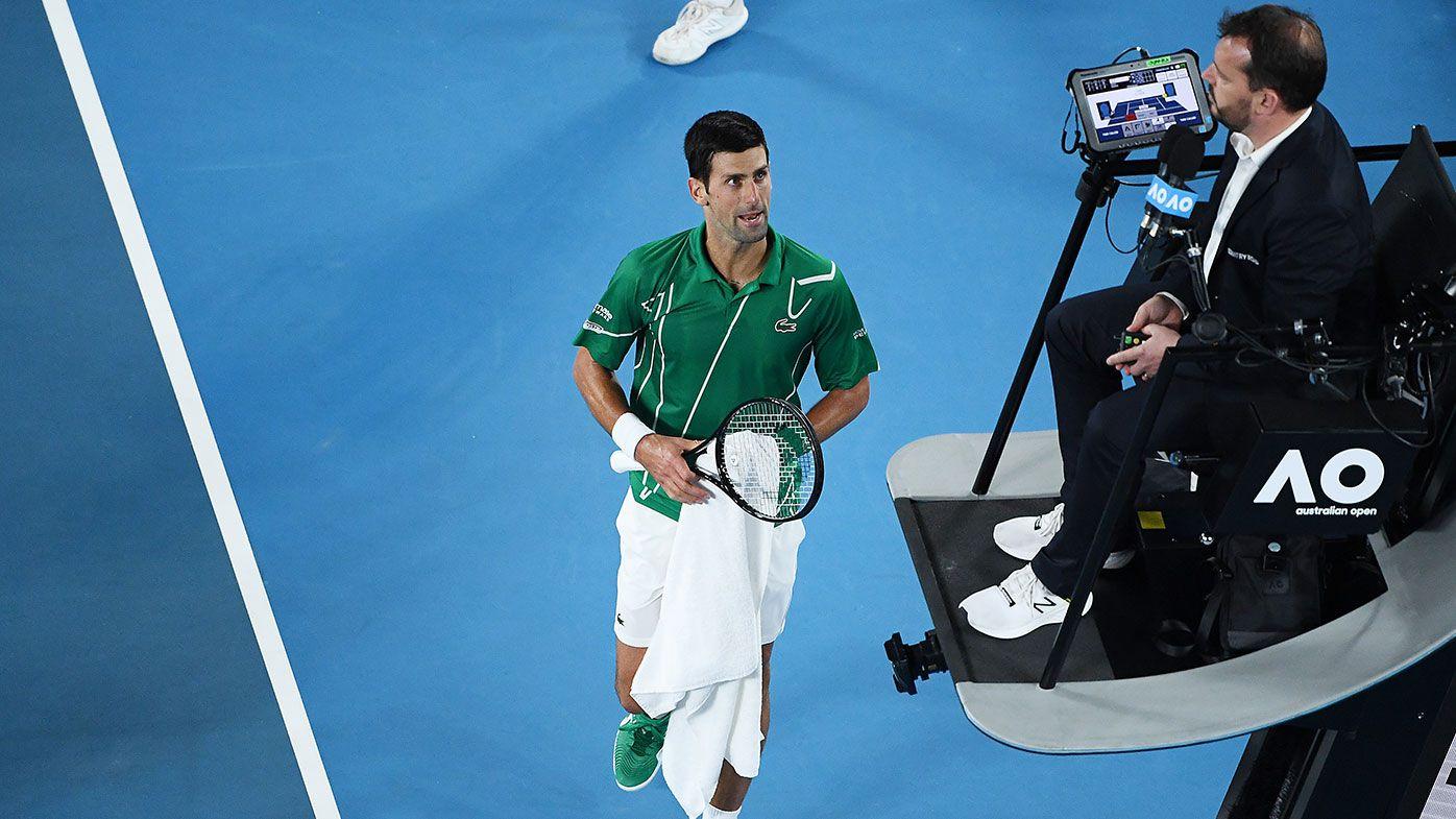 Australian Open 2020 Novak Djokovic Time Violation Serve Clock Angry At Umpire