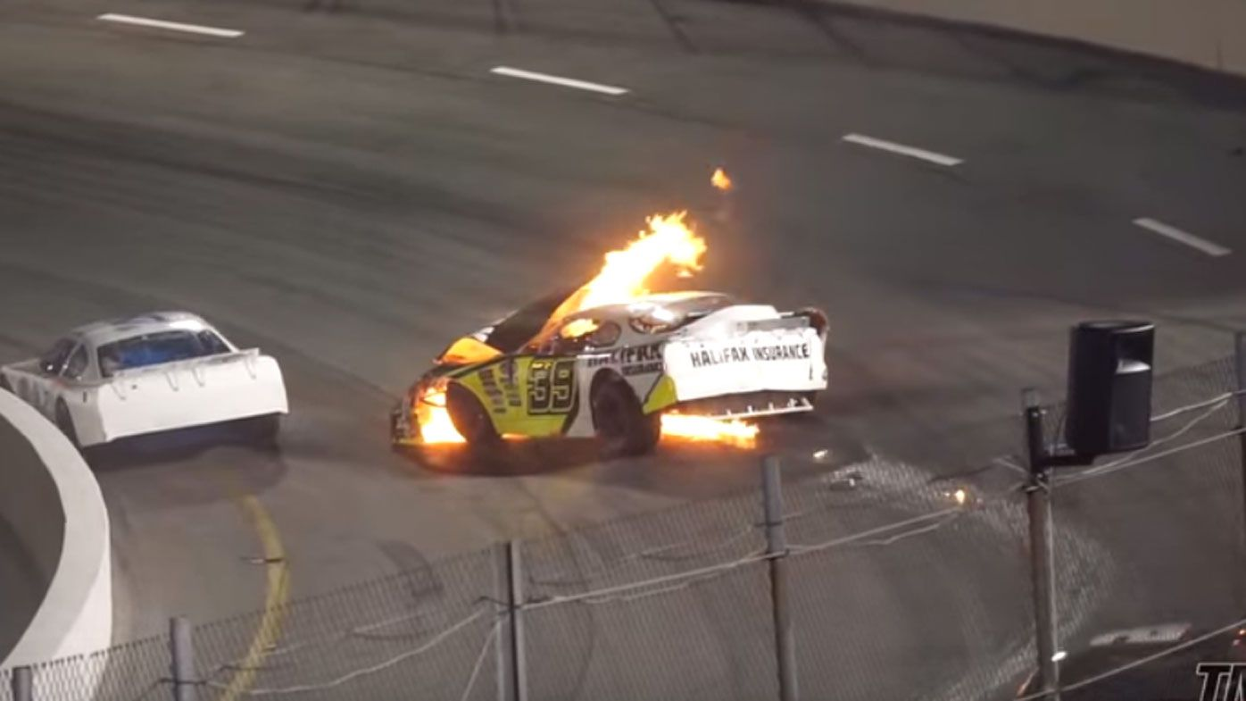 NASCAR driver pulled to safety by father after car bursts into flames