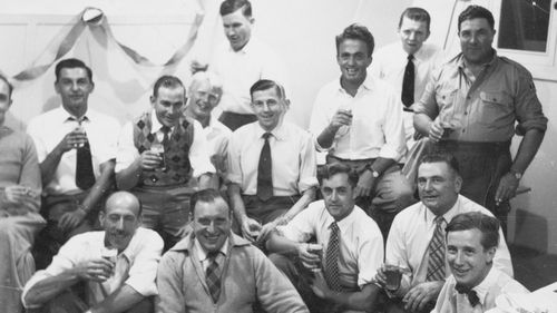 File photo of servicemen celebrating at the South Australian town of Maralinga in 1955. (AAP)