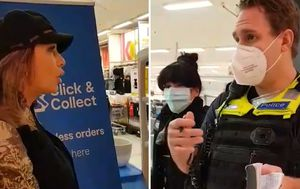 'The mask of the beast': Victorian anti-masker argues with police over facial covering at Kmart