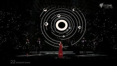 Hungary used galaxy themes to compliment their ballad. (SBS)
