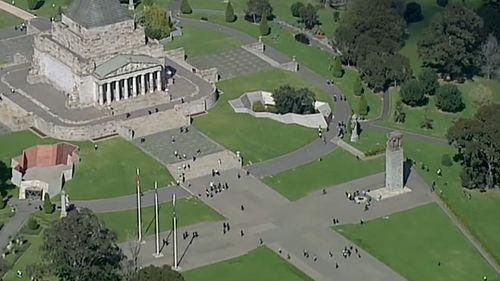 The Shrine of Remembrance was touted as a meeting point for protestors.