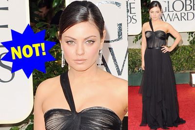 The Dior gown is nothing special and we can't get past Mila's terrible scowl.