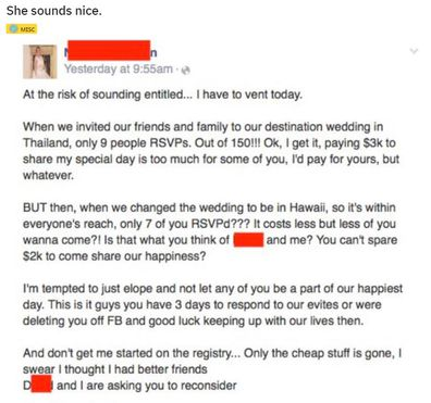Angry bride rant