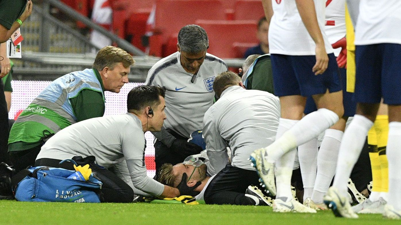 England defender Luke Shaw OK after ugly head knock against Spain