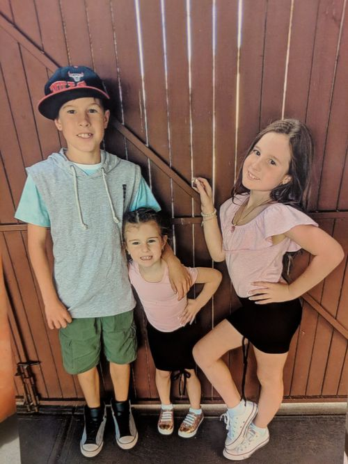 Briella (right) with her brother Brock, 11, and sister, Shaylah, 5.
