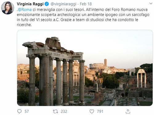 Mayor Virginia Raggi tweeted her excitement about the new Roman Forum discovery.