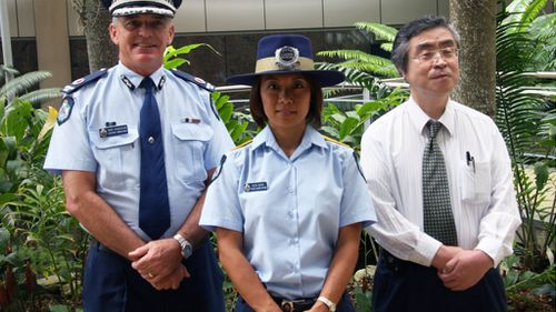 A snapshot from early in PLO Berry's career with Queensland Police. (Keiko Berry/Queensland Police Service)
