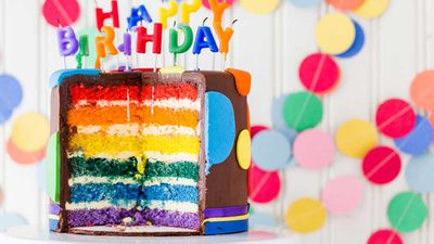 """Recipe: <a href=""""https://kitchen.nine.com.au/2017/11/17/15/25/ultimate-rainbow-layer-cake-with-fluffy-meringue-frosting"""" target=""""_top"""" draggable=""""false"""">Ultimate rainbow layer cake with fluffy meringue frosting</a>"""